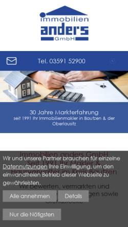 Vorschau der mobilen Webseite www.immobilien-anders.de, Immobilien Anders GmbH