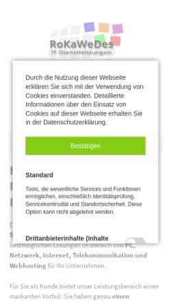 Vorschau der mobilen Webseite www.rokawedes.de, RoKaWeDes IT-Dienstleistungen