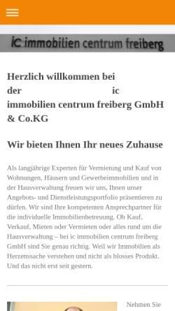 Vorschau der mobilen Webseite www.immobiliencentrumfreiberg.de, IC Immobilien Centrum Freiberg GmbH