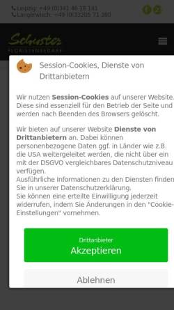 Vorschau der mobilen Webseite www.schuster-floristenbedarf.de, Siegfried Schuster GmbH - Floristikhandel