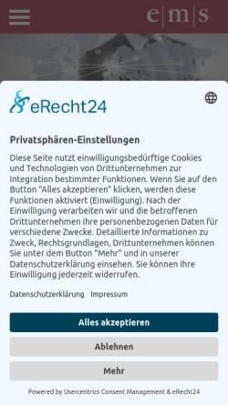 Vorschau der mobilen Webseite www.emskg.de, e|m|s Unternehmensberatung GmbH & CO. KG