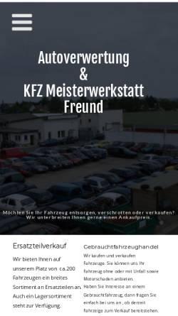 Vorschau der mobilen Webseite www.autoverwertung-freund.de, Autoverwertung Thomas Freund