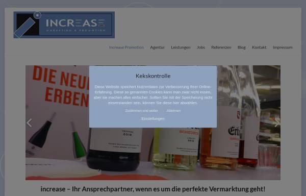 Vorschau von www.increase-promotion.com, Agentur Increase Promotion GmbH