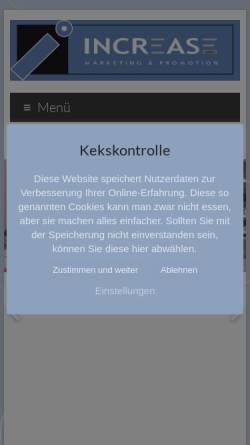 Vorschau der mobilen Webseite www.increase-promotion.com, Agentur Increase Promotion GmbH