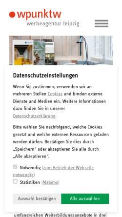 Vorschau der mobilen Webseite www.wpunktw.com, Wpunktw Kommunikation und Werbung GmbH