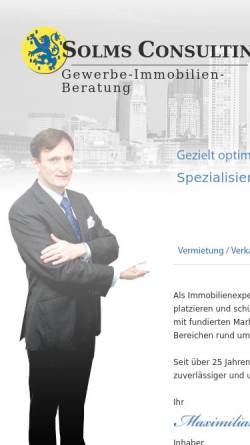 Vorschau der mobilen Webseite SolmsConsulting.de, SOLMS CONSULTING Gewerbe-Immobilien-Beratung