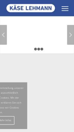 Vorschau der mobilen Webseite www.kaese-lehmann.com, Käse Lehmann Handels GmbH