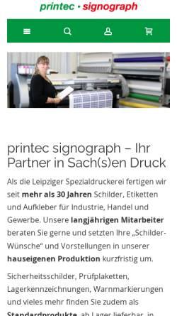 Vorschau der mobilen Webseite www.printec-signograph.de, Printec Signograph GmbH