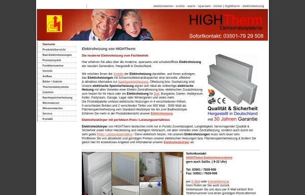 Vorschau von hightherm-elektroheizung.de, Hightherm Elektroheizung Elektroheizungen