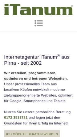 Vorschau der mobilen Webseite www.itanum.com, iTanum Internetagentur