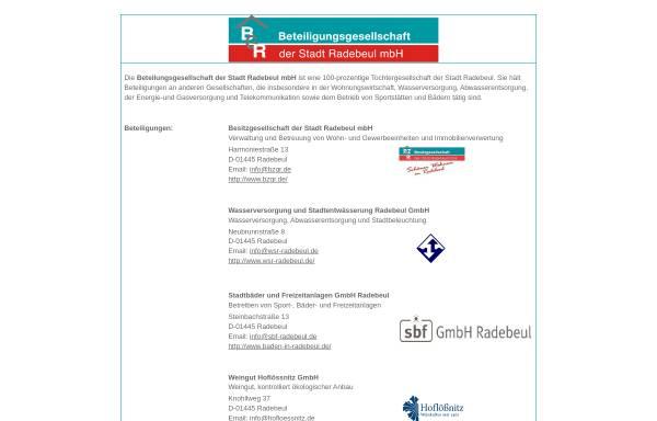 Vorschau von www.bzgr.de, Besitzgesellschaft der Stadt Radebeul GmbH