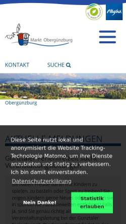 Vorschau der mobilen Webseite www.oberguenzburg.de, Obergünzburg