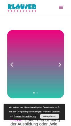 Vorschau der mobilen Webseite www.klauser.de, Fahrschule Klauser