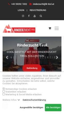 Vorschau der mobilen Webseite www.rinderzucht-tirol.at, Rinderzucht Tirol