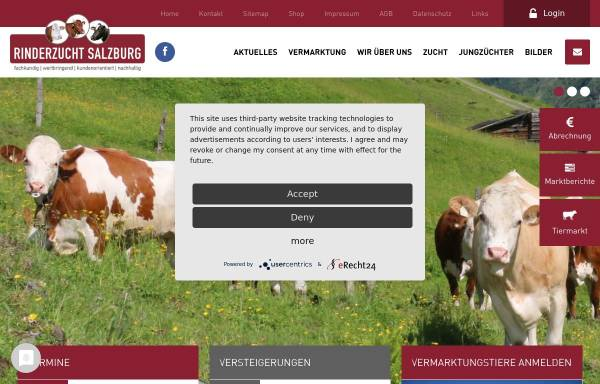 Vorschau von www.rinderzuchtverband.at, Rinderzuchtverband Salzburg und Erzeugergemeinschaft Salzburger Rind GmbH