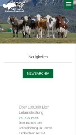 Vorschau der mobilen Webseite www.rinderzuchtverband.it, Südtiroler Rinderzuchtverband Gen.m.b.H.