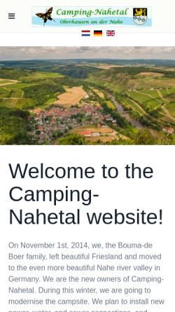 Vorschau der mobilen Webseite www.camping-nahetal.de, Camping Nahetal
