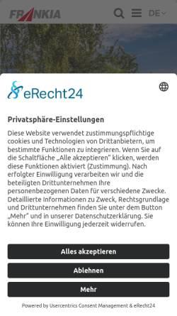 Vorschau der mobilen Webseite www.frankia.de, Frankia Pilote GmbH & Co. KG