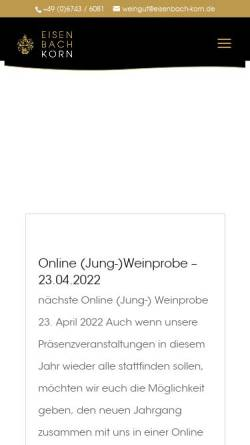 Vorschau der mobilen Webseite www.eisenbach-korn.de, Weingut Eisenbach-Korn