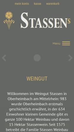 Vorschau der mobilen Webseite www.stassenwein.de, Weingut und Ferienhaus Jürgen Stassen