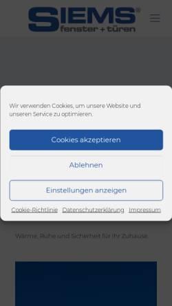 Vorschau der mobilen Webseite www.siems-fenster.de, Siems fenster+türen GmbH