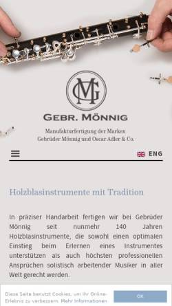 Vorschau der mobilen Webseite www.moennig-adler.de, Gebr. Mönnig, Oscar Adler & Co.