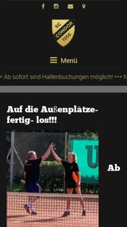 Vorschau der mobilen Webseite sccondor-tennis.de, SC Condor Tennis