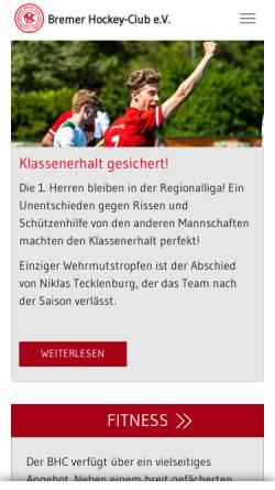 Vorschau der mobilen Webseite www.bremerhockeyclub.de, Bremer Hockey Club e.V.