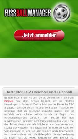 Vorschau der mobilen Webseite www.hastedter-tsv.de, Hastedter-TSV