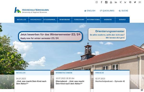 Vorschau von www.fh-nordhausen.de, Fachhochschule Nordhausen