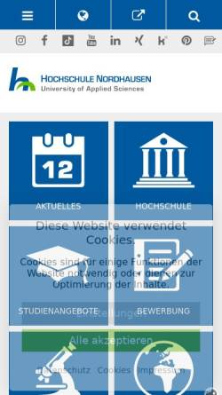 Vorschau der mobilen Webseite www.fh-nordhausen.de, Fachhochschule Nordhausen