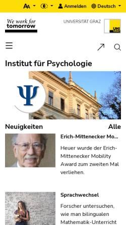 Vorschau der mobilen Webseite psychologie.uni-graz.at, Institut für Psychologie