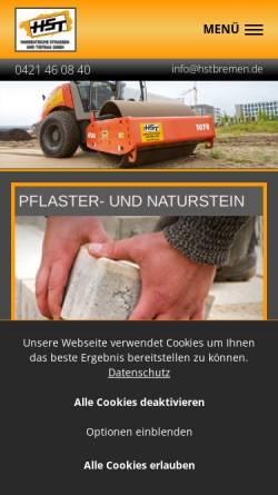 Vorschau der mobilen Webseite www.hstbremen.de, HST - Hanseatische Straßen- und Tiefbaugesellschaft mbH