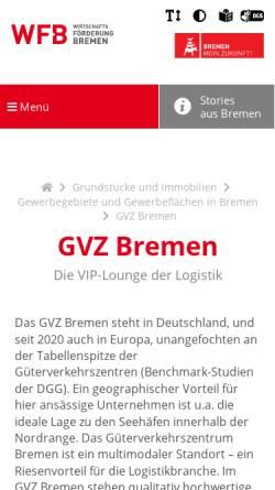 Vorschau der mobilen Webseite www.gvz-bremen.de, Güterverkehrszentrum Bremen
