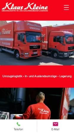 Vorschau der mobilen Webseite www.umzuege-bremen.de, Klaus Kleine Umzüge