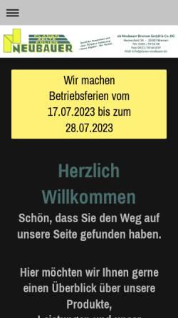 Vorschau der mobilen Webseite www.planen-neubauer.de, NB Neubauer Bremen GmbH Co. & KG
