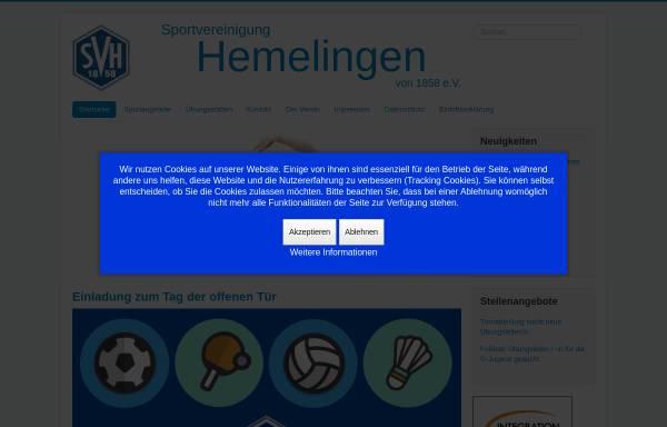 Vorschau von www.svhemelingen.de, Sportvereinigung Hemelingen von 1858 e.V.