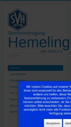 Vorschau der mobilen Webseite www.svhemelingen.de, Sportvereinigung Hemelingen von 1858 e.V.