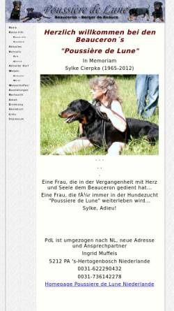 Vorschau der mobilen Webseite www.beauceron-pdl.de, Poussiere de Lune
