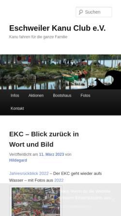 Vorschau der mobilen Webseite www.ekc-home.de, Eschweiler Kanu Club e.V.