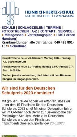 Vorschau der mobilen Webseite www.heinrich-hertz-schule-hamburg.de, Heinrich-Hertz-Schule