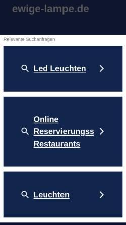 Vorschau der mobilen Webseite www.ewige-lampe.de, Ewige Lampe