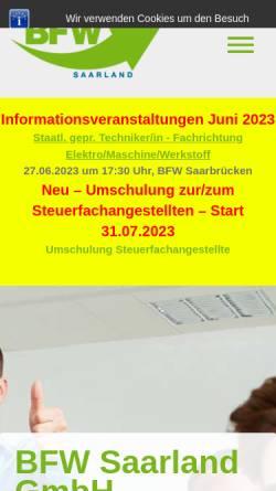 Vorschau der mobilen Webseite www.bfwsaarland.de, BFW Saarland GmbH