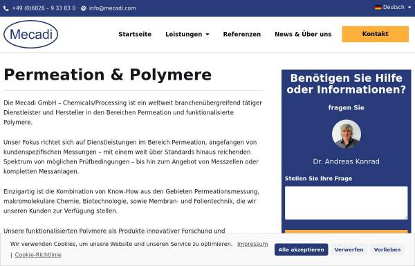 Vorschau von www.mecadi.com, Mecadi GmbH Chemicals/Processing