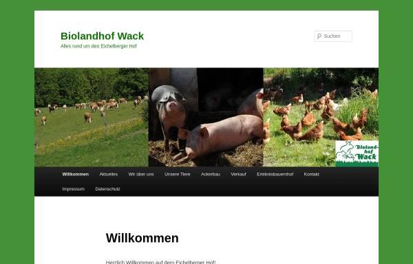 Vorschau von www.biolandhof-wack.de, Biolandhof Familie Wack Eichelberger Hof Ommersheim