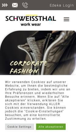 Vorschau der mobilen Webseite www.schweissthal.de, Schweissthal GmbH Berufsbekleidung Bliesmengen