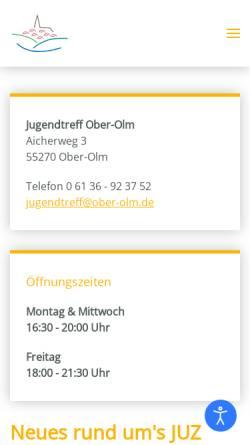 Vorschau der mobilen Webseite www.jugendtreff.ober-olm.de, Kommunaler Jugendtreff