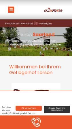 Vorschau der mobilen Webseite www.eier-lorson.de, Geflügelhof Lorson und Sohn GmbH Differten