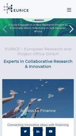 Vorschau der mobilen Webseite eurice.eu, Eurice European Research and Project Office GmbH