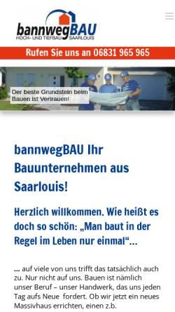 Vorschau der mobilen Webseite www.bannwegbau.com, Bannweg Bau GmbH